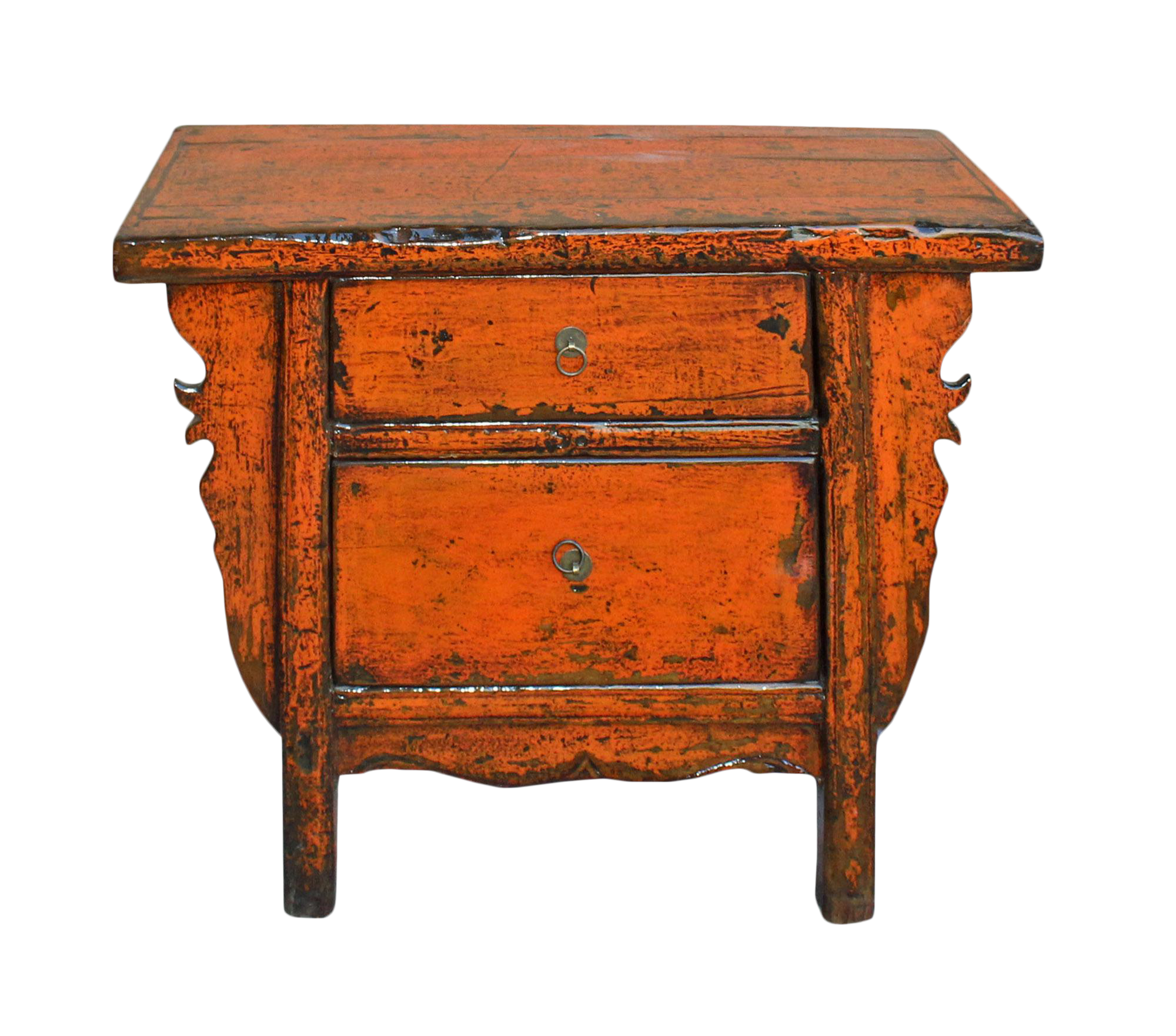 Chinese Rustic Rough Wood Distressed Orange Side Table Cabinet