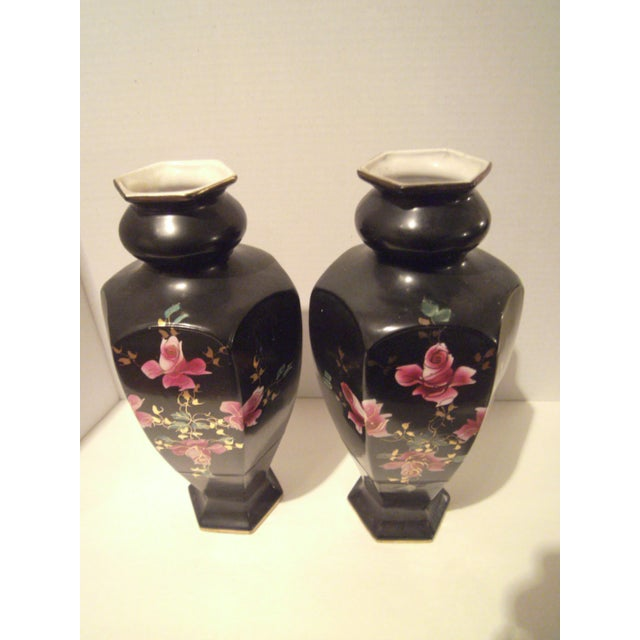 Black Hand Painted Vases - A Pair - Image 6 of 9