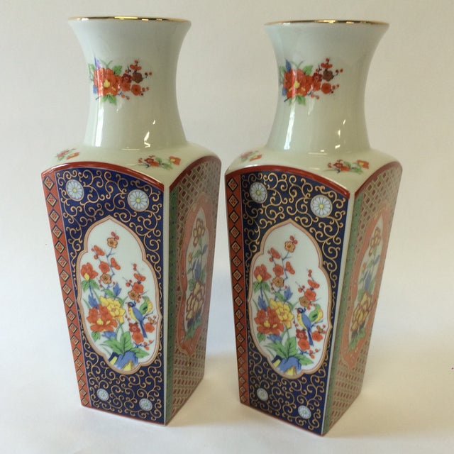 Chinoiserie Style Square Vases - A Pair - Image 2 of 10