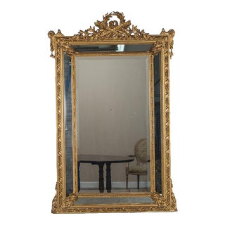 Antique Louis XVI French Gilt Wood Pareclose Mirror circa 1890 (44″w x 69″h)