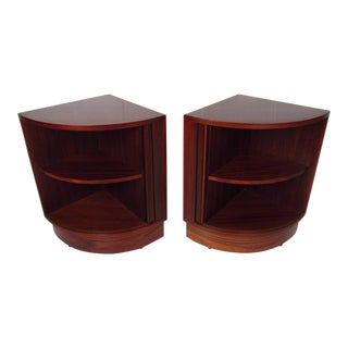 Pair of Mid Century Rosewood Tambor Door Night Stands