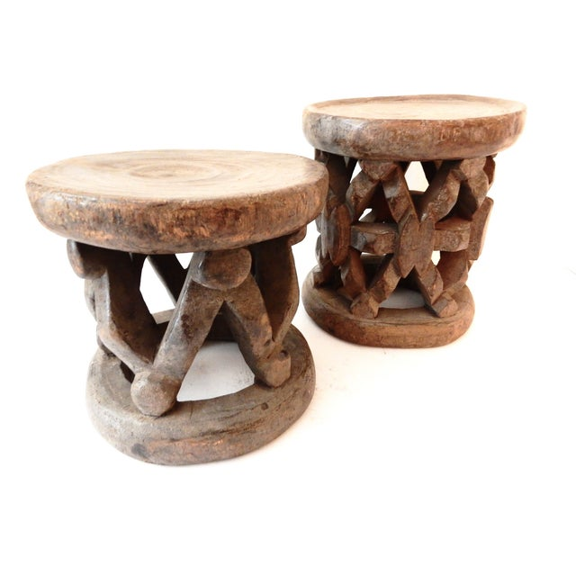 Bamileke Cameroon Low Stools - Pair - Image 3 of 7