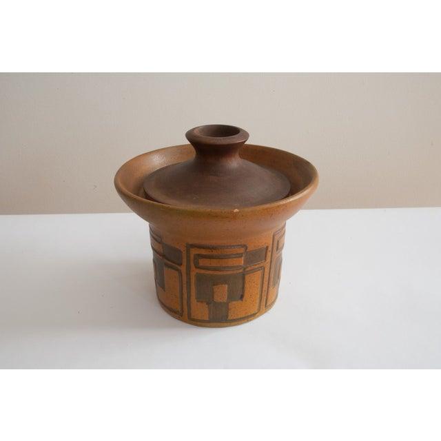 Rare Raymor Teak & Ceramic Container - Image 5 of 5