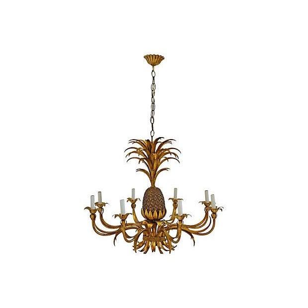 8-Light Tole Pineapple Chandelier - Image 1 of 3