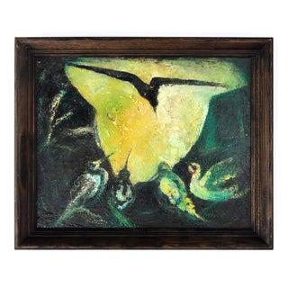 Bakis Mid-Century Modern Birds Oil Painting