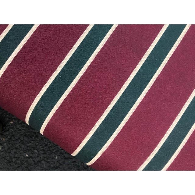 1980s Striped Upholstered Waterfall Benches -A Pair - Image 7 of 8
