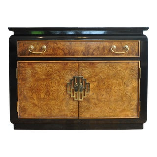 Century Furniture Black Lacquer & Burlwood Server