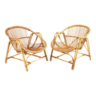1960s French Rattan Lounge Chairs - A Pair