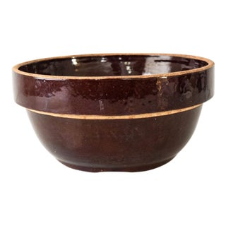 Antique Country Brown Stoneware Mixing Bowl