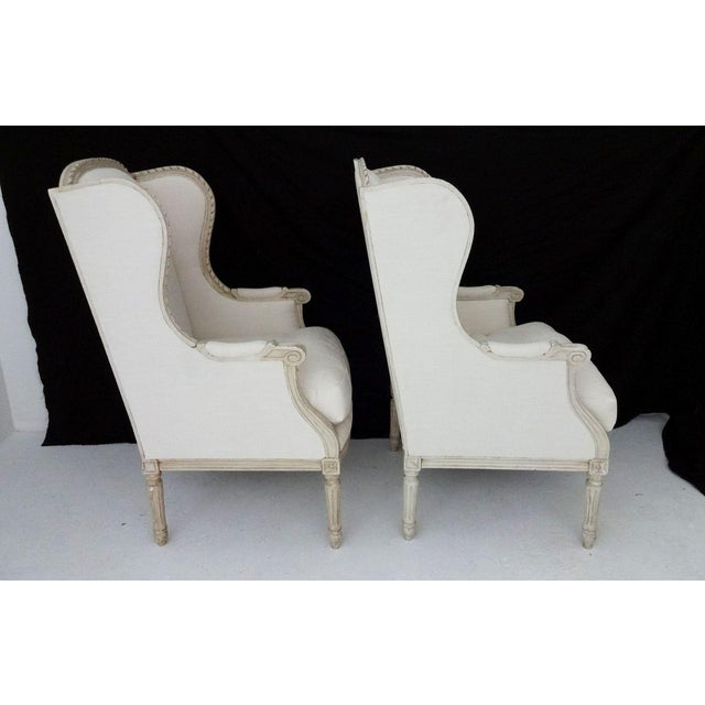 Antique Bergere Wingback Chairs - A Pair - Image 2 of 8