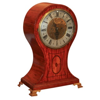 English Satinwood Mantel Clock