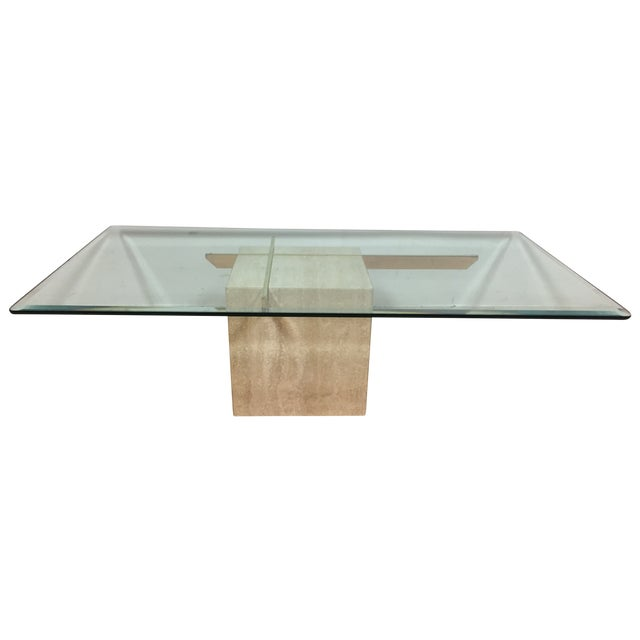 Image of Artedi Travertine Glass Coffee Table