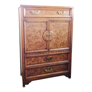Henry Link Mandarin Faux Burl Wood Bar Cabinet