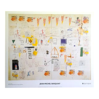 "Jean Michel Basquiat Original Abstract Offset Lithograph Print Poster "" Icarus Esso "" 1986"