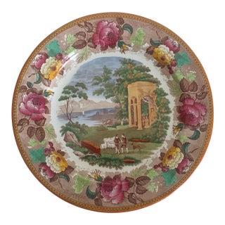 Antique Wedgwood Transferware Neoclassical Floral Ceramic Plate