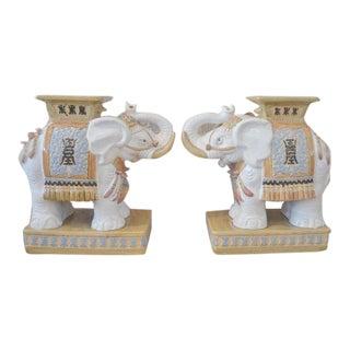 Vintage Ceramic Elephant Planters - A Pair
