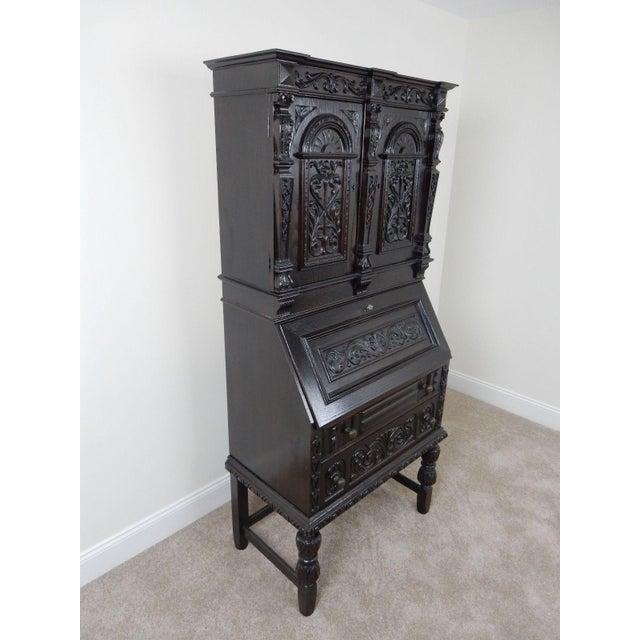 Antique Carved Solid Oak Jacobean Slant Front Desk - Image 4 of 11