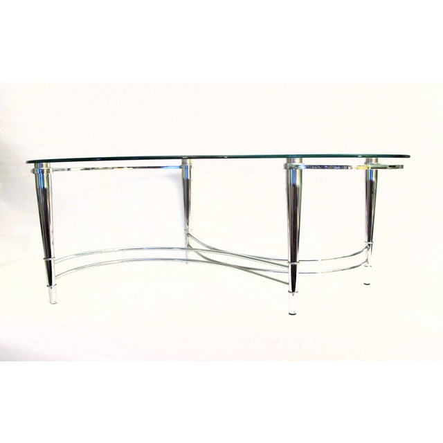 1980's Kidney Shaped Chrome Coffee Table - Image 4 of 4
