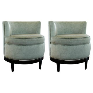 Swaim Barrel Back Swivel Chairs - a Pair