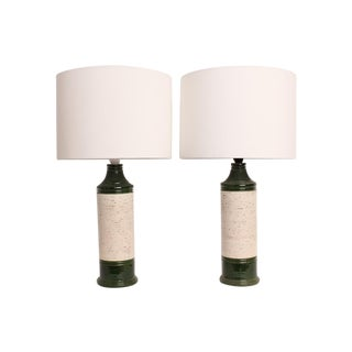 Green and White Ceramic Table Lamps - A Pair