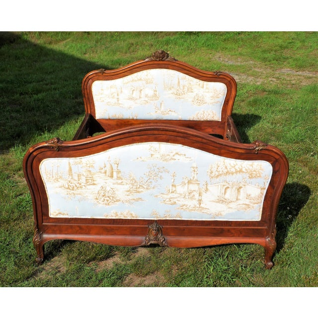 Antique French Louis XV Carved Solid Wood Toile Upholstered Full Double Bed - Image 2 of 11
