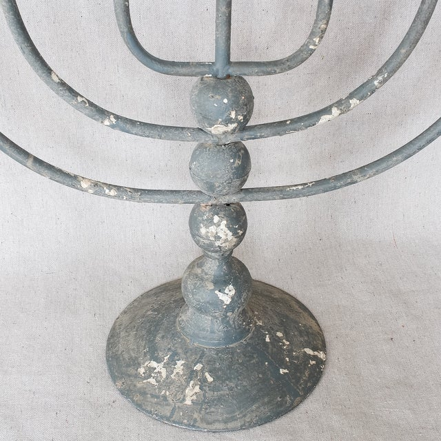 Image of Large Rustic Painted Metal Candlesticks - 3