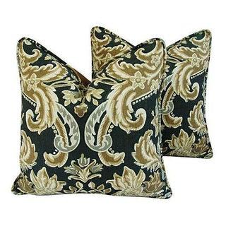Kravet Lutron Damask Linen Pillows - A Pair