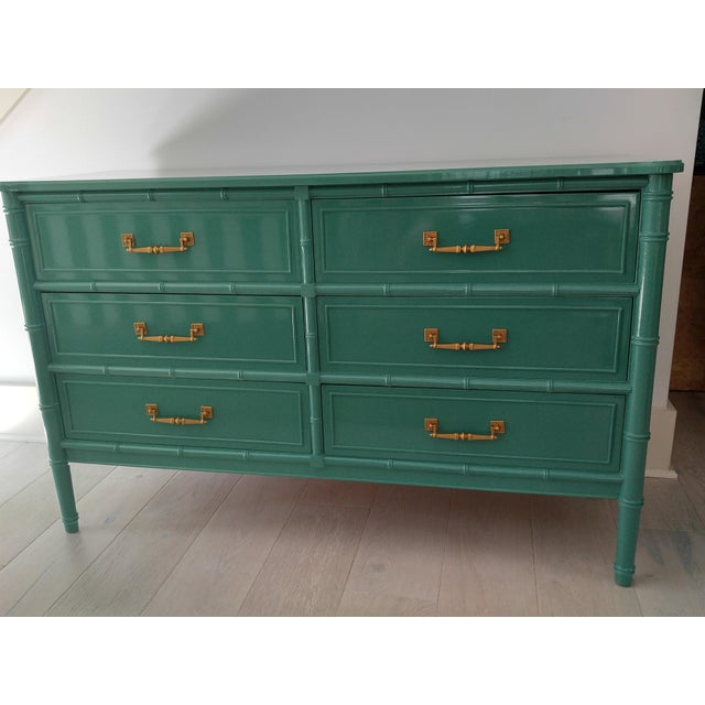 Henry Link for Dixie Green Faux Bamboo Dresser - Image 10 of 10