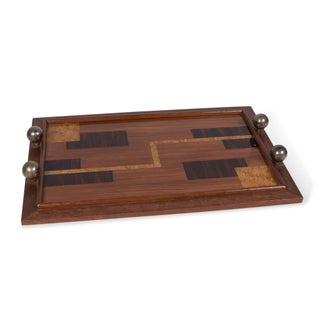 Geometric Parquetry Wooden Tray, French 1930s