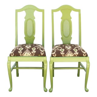 Lime Green Vintage Dining Chairs - A Pair