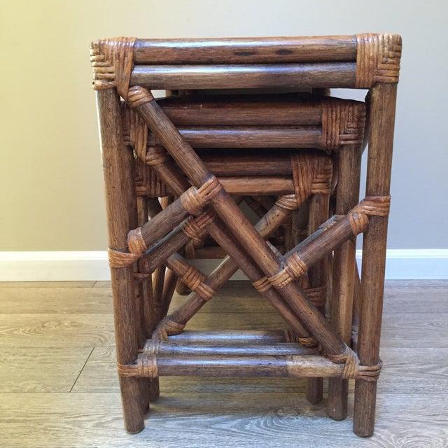 Antique Wood Nesting Tables Set Of 3 ~ Vintage rattan wood nesting tables set of chairish