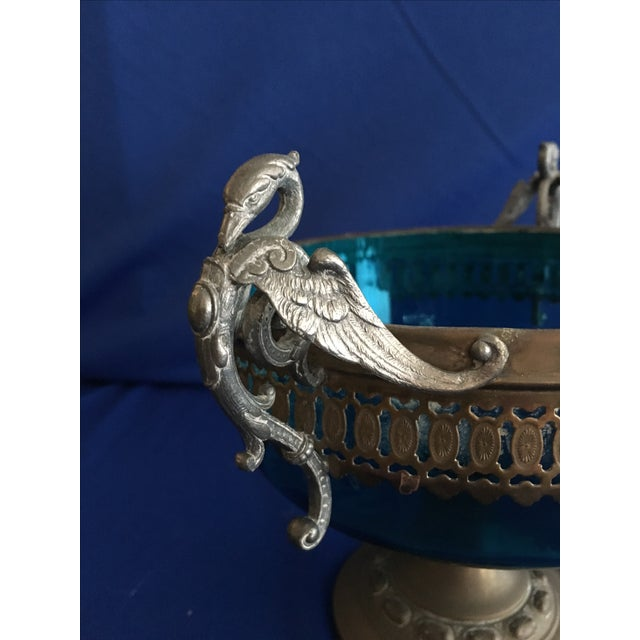 Blue Glass Compote with Dragon Handles - Image 6 of 10