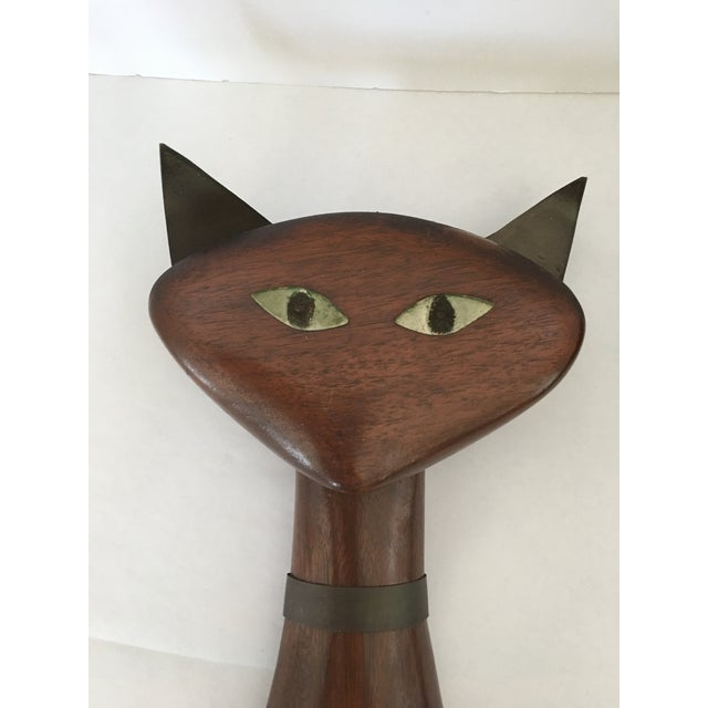 Image of Mid-Century Wood & Brass Wall Cats - A Pair
