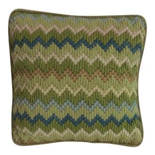 Green Mid-Century Bargello Needlepoint Pillow