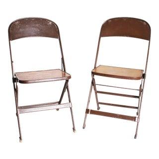 Vintage Brown Metal & Wood Folding Chairs - Set of 2