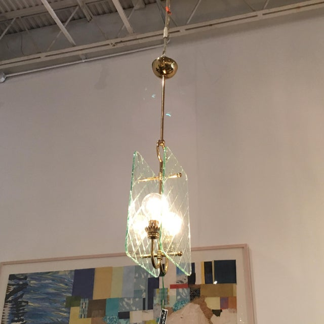 Cut Crystal and Brass Chandelier by Pietro Chiesa for Fontana Arte - Image 2 of 6