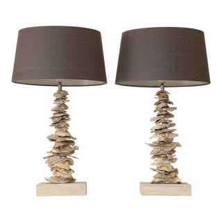 Pair of Custom Oyster Shell Lamps