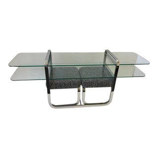 Chrome and Glass Console Table and Pair of Ottomans by DIA