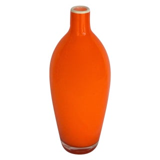 Hand-Blown Vintage Orange Bottle Vase