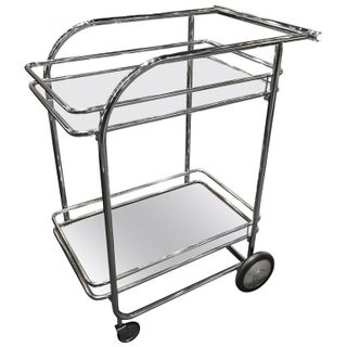 1970s Chrome and Glass Bar Cart
