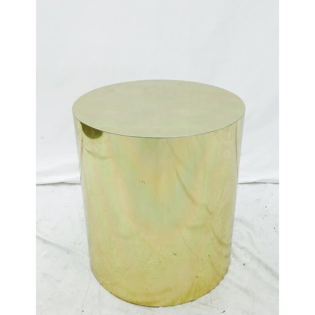 Mid-Century Modern Brass Pedestal Side Table - Image 3 of 4