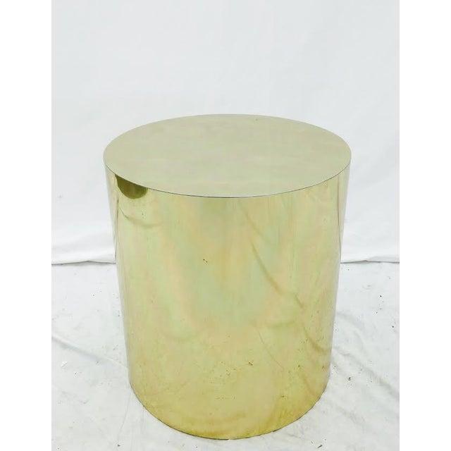 Image of Mid-Century Modern Brass Pedestal Side Table