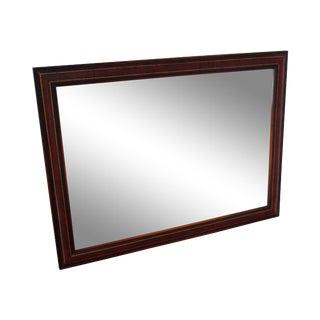 Mahogany & Leather Frame Wall Mirror circa 1950s