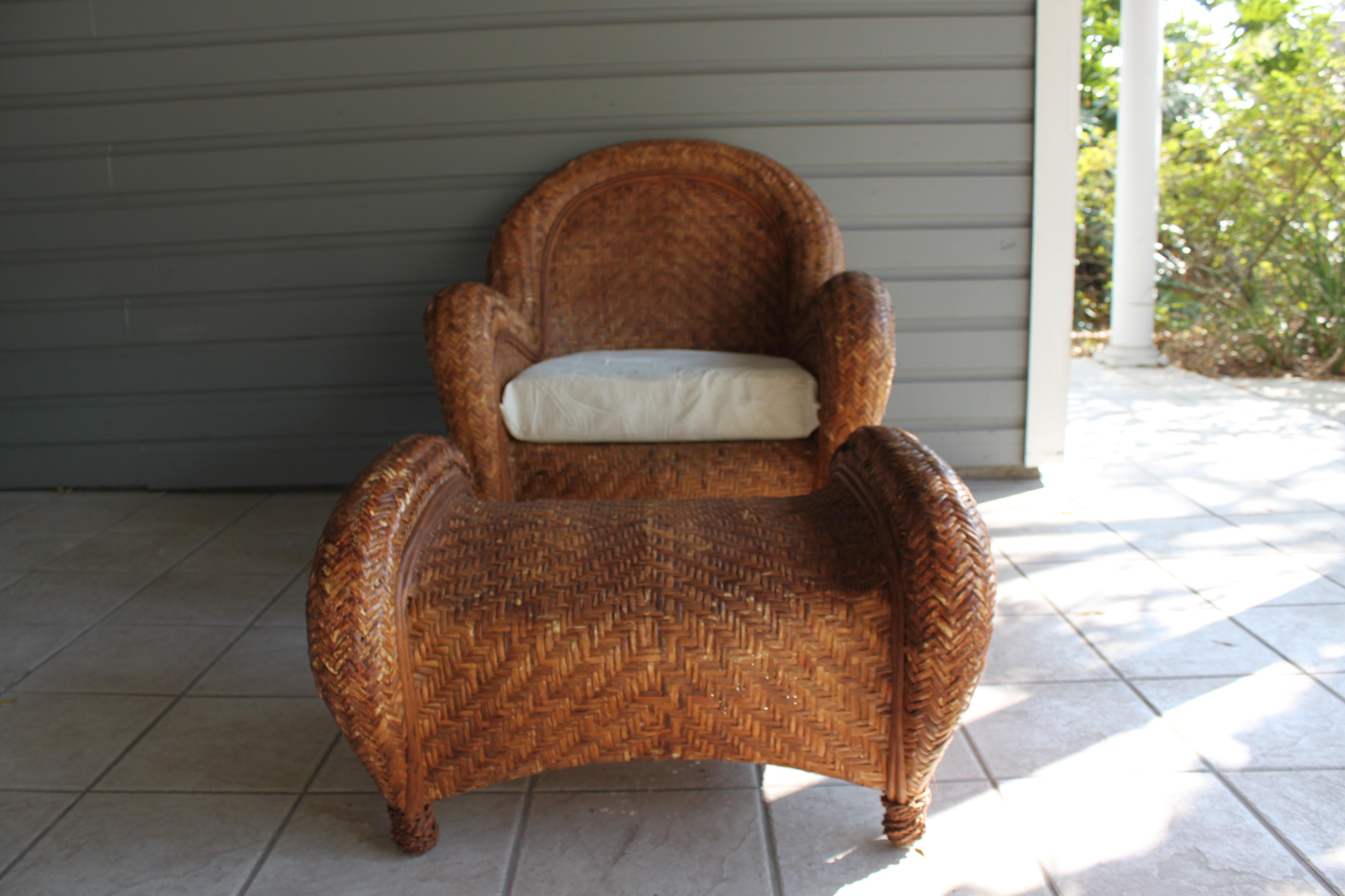Pottery Barn Rattan Malabar Chair U0026 Ottoman   Image 2 ...