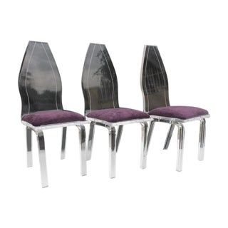 High Shell Back Lucite Dining Chairs - Set of 3