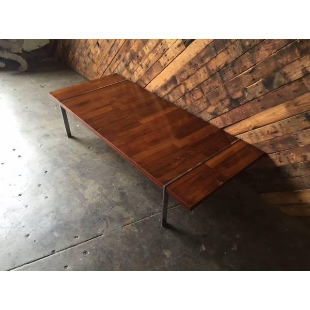 Image of Vintage Walnut Rosewood Chrome Coffee Table