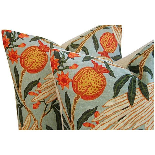 Orange Velvet Tropical Parrot & Pomegranate Feather Down Pillows - Set of 4 - Image 5 of 6