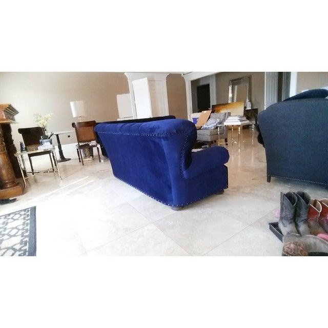 Image of Restoration Hardware Churchill Blue Velvet Sofa
