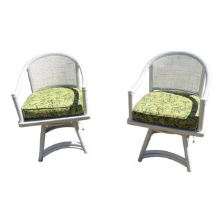 Ficks Reed Lacquered Swivel Chairs - A Pair