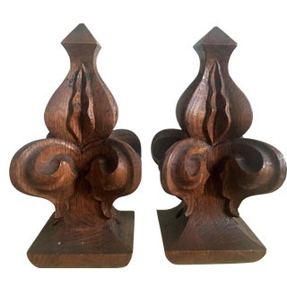 Large Architectural Salvage Hand Carved Finials